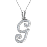 Initial Necklace G Letter charms Diamond pendant necklace 18K Gold (G,VS) - White Gold
