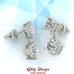 Princess & Round Drop Two stone Diamond Dangle Earrings 14K Gold (G,SI)