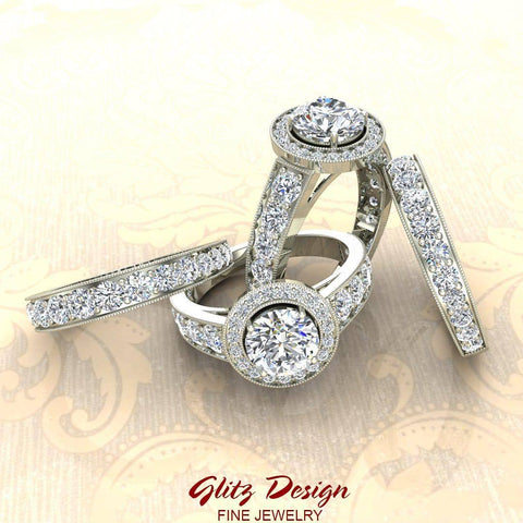 2.24 Carat Solitaire Diamond Halo And Simple Studded Shank Wedding Ring Set 14K Gold (G,I1)