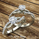 Twisting Infinity Diamond Engagement Ring 18K Gold 0.63 ctw (G,SI) - White Gold