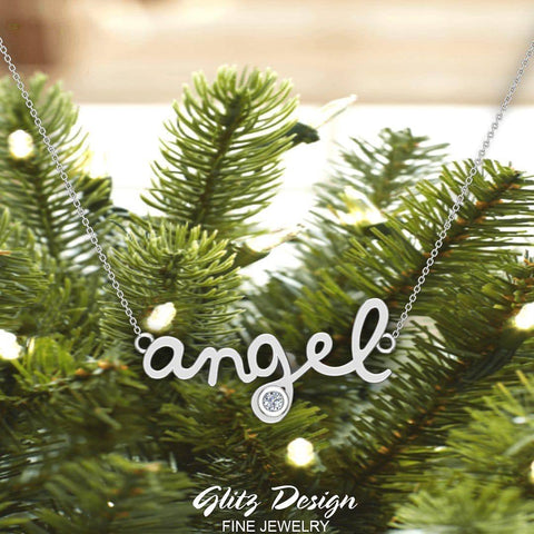 Angel Charm Necklace 18K Gold Bezel set Diamond Highlight (G,SI) - White Gold