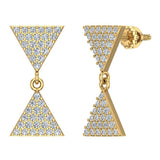 Diamond Dangle Earrings Triangle Pattern Cluster Hour-glass Look 14K Gold 0.63 ctw (G,SI) - Yellow Gold