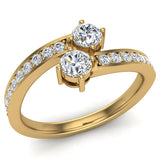 Two-Stone Ring Accent Diamond Engagement Setting 14k Gold (G,SI) - Yellow Gold