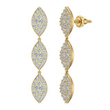 Marquise Diamond Chandelier Earrings Waterfall Style 14K Gold (G,SI) - Yellow Gold