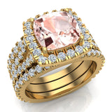 Cushion Cut Pink Morganite Halo Engagement Ring Set w/ enhancer bands 14K Gold (I,I1) - Yellow Gold