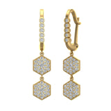 Hexagon Diamond Dangle Earrings Dainty Drop Style 14K Gold 1.05 ctw (G,SI) - Yellow Gold