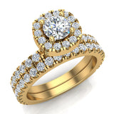Petite Wedding rings for women Cushion Halo Round Brilliant Diamond Bridal Set 18K Gold 1.50 carat (G, SI) - Yellow Gold