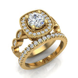 Crescent Wave Shank Round Diamond Cushion Halo Wedding Ring w Band 1.46 ctw 14K Gold (G,I1) - Yellow Gold