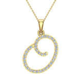 Initial Necklace O Letter charms Diamond pendant necklace 18K Gold (G,VS) - Yellow Gold