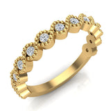 Designer Stacking Evil Eye Round Milgrain Diamond Wedding or Anniversary Band  0.26 ctw 18K Gold (G,SI) - Yellow Gold
