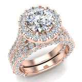Moissanite Wedding Ring Set 18K Gold Halo Rings for women 7.40 mm 5.15 carat (G,VS) - Rose Gold