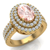 Oval Morganite Engagement Rings for Women 18K Gold Diamond Halo 2.65 carat (G,VS) - Yellow Gold