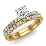 Petite Wedding Rings for women Round Cut Bridal set 14K Gold 0.90 carat (I, I1) - Yellow Gold