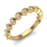 Ocean Waves Ripple Stacking Milgrain Diamond Wedding or Anniversary Band 0.33 ctw 18K Gold (G,SI) - Yellow Gold