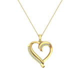 18K Gold Necklace Petite Heart Diamond Pendant Pave set ⅙ ctw (G,SI) - Yellow Gold