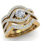 Criss Cross Intertwined Diamond Wedding Ring Set w/ Enhancer Bands 1.20 Carat 14K Gold (G,I1) - Yellow Gold