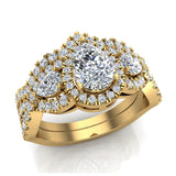 Infinity Style Pear Cut Moissanite Halo Diamond Wedding Ring Set 14K Gold (I,I1) - Yellow Gold