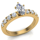 Engagement Rings for Women - Marquise Cut Diamond 14K Gold  0.50 ct GIA Certificate - Yellow Gold