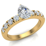 Engagement Rings for Women - Pear Cut Diamond 18K Gold  0.70 ct GIA Certificate - Yellow Gold