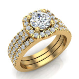 Luxury Round Cushion Halo Diamond Engagement Ring Set 18K Gold (G,SI) - Yellow Gold