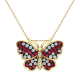 Butterfly Necklace Diamonds & Ruby 18K Gold Chain 0.78 ctw (G,SI) - Yellow Gold