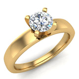 Solitaire Diamond Ring Fitted Band Style 14k Gold (G,SI) - Yellow Gold