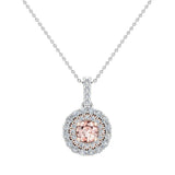 Round Cut Pink Morganite Double Halo 2 tone necklace 14K Gold (I,I1) - Rose Gold
