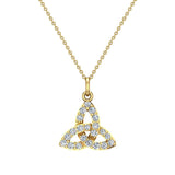 Celtic Knot Charm Necklace 14K Gold 0.24 Ctw (G,I1) - Yellow Gold