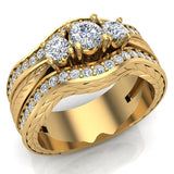 Past Present Future Diamond Wedding Ring Set 14K Gold (G,SI) - Yellow Gold