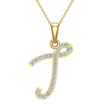 Initial Necklace T Letter charms Diamond pendant necklace 18K Gold (G,VS) - Yellow Gold