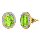 4.34 ct tw Green Peridot & Diamond Cabochon Stud Earring In 14k Gold (G, I1) - Yellow Gold