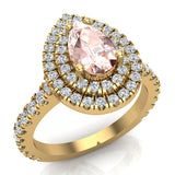 Pear Cut Pink Morganite Double Halo Engagement Ring 14K Gold (I,I1) - Yellow Gold
