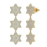 Star of David Diamond Cluster Chandelier Earrings Waterfall Style 14K Gold (I,I1) - Yellow Gold