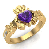 Genuine Heart Amethyst Claddagh Diamond Ring 0.62 Carat Total Weight 14K Gold - Yellow Gold