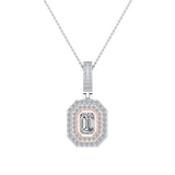 Emerald Cut Diamond Cut Cornered Halo 2 tone Necklace 14K Gold (I,I1) - Rose Gold