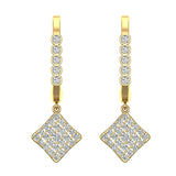Square Diamond Dangle Earrings Dainty Drop Style 14K Gold 1.31 ctw (I,I1) - Yellow Gold