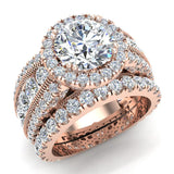 Moissanite Wedding Ring Set for Women 18K Gold Real Diamond accented Ring Channel Set 5.60 carat tw (G,VS) - Rose Gold