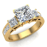 Past Present Future Princess Diamond Engagement Ring 1.81 ctw 14K Gold (G,I1) - Yellow Gold