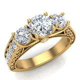 Diamond Engagement Rings for women 1.75 ctw Past Present Future Style 14K Gold (G, SI) - Yellow Gold