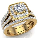 Round Cut Diamond Cushion Halo Split Shank Ring Set  w Enhancer Bands 14K Gold (G,VS2) - Yellow Gold