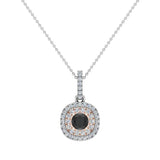 Round Cut Black Diamond Cushion Double Halo 2 tone necklace 14K Gold (G,I1) - Rose Gold