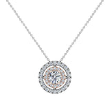 Round Brilliant Diamond Double Halo 2 tone necklace 14K Gold (I,I1) - Rose Gold