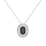 Oval Cut Black Diamond Double Halo 2 tone necklace 14K Gold (G,SI) - Rose Gold