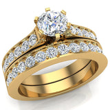 Wedding Ring Set for Women Round Solitaire Diamond Bridal Set Cathedral 14K Gold 1.50 carat (H,SI) - Yellow Gold