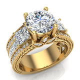 Moissanite Engagement Ring for Women 8.00 mm 5.35 carat Past Present Future Style 14K Gold (I,I1) - Yellow Gold