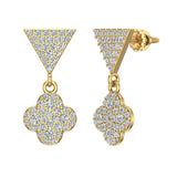 Diamond Dangle Earrings Clover Pattern Cluster Triangle Top 14K Gold 0.90 ctw (G,SI) - Yellow Gold