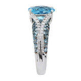 4.20 ct tw Blue Topaz & Diamond Cut White Topaz Sterling Ring