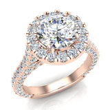 Moissanite Engagement rings 14K Gold Halo Rings for women 4.15 carat (I,I1) - Rose Gold