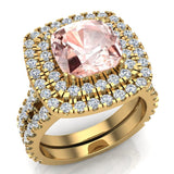 Pink Morganite Cushion Cut Double Halo Diamond wedding rings for women 14K Gold 3.80 ctw (G,SI) - Yellow Gold