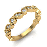 Stacking Circle & Marquee designer Milgrain Diamond Wedding Band 0.22 Ctw 14K solid Gold (I,I1) - Yellow Gold